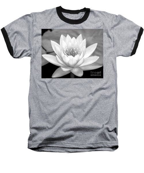 Water Lily In Black And White Baseball T-Shirt