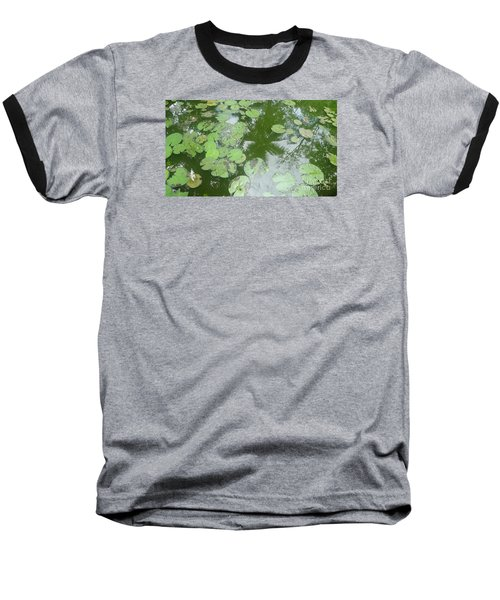 Baseball T-Shirt featuring the photograph Water Lily Leaves And Palm Trees by Nora Boghossian
