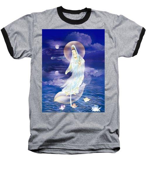 Water Moon Avalokitesvara  Baseball T-Shirt by Lanjee Chee