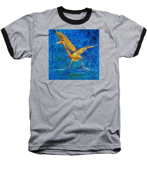 Baseball T-Shirt featuring the painting Water Run by AnnaJo Vahle