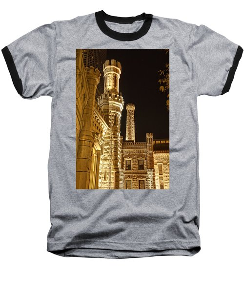 Water Tower At Night Baseball T-Shirt by Daniel Sheldon
