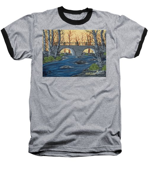 Baseball T-Shirt featuring the painting Water Under The Bridge by Brenda Brown