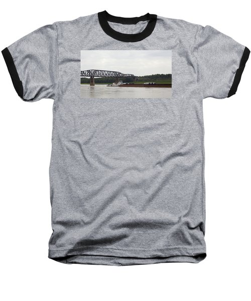 Water Under The Bridge - Towboat On The Mississippi Baseball T-Shirt