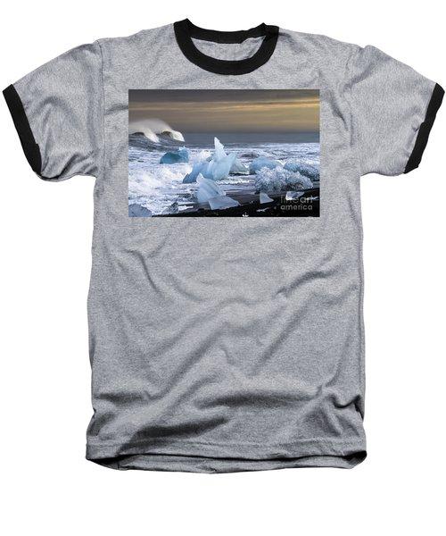 Water Versus Ice Baseball T-Shirt by Gunnar Orn Arnason