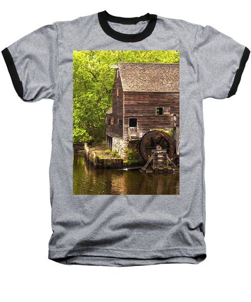Baseball T-Shirt featuring the photograph Water Wheel At Philipsburg Manor Mill House by Jerry Cowart