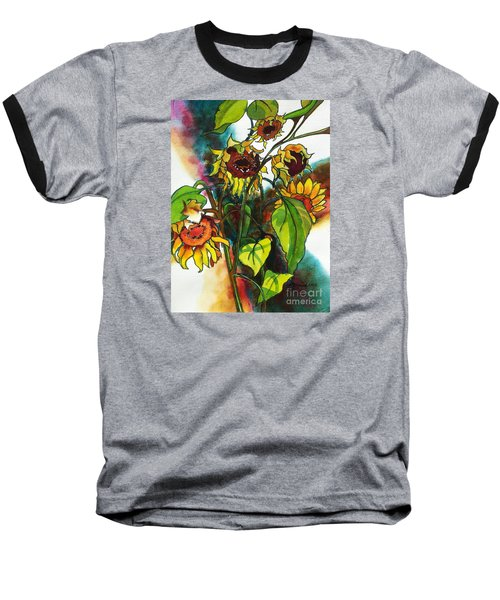 Sunflowers On The Rise Baseball T-Shirt by Kathy Braud