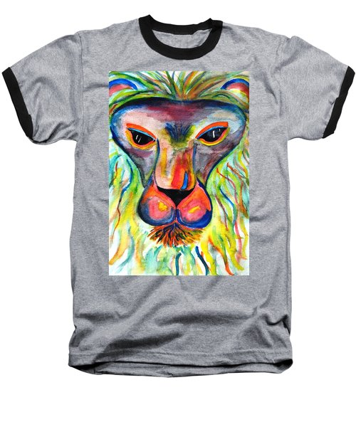 Watercolor Lion Baseball T-Shirt by Angela Murray