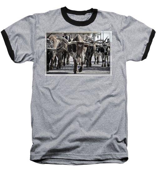 Watercolor Longhorns Baseball T-Shirt