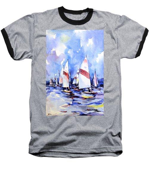 Watercolor Of Scow Boats Racing Torch Lake Mi Baseball T-Shirt