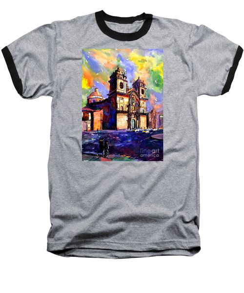 Watercolor Painting Of Church On The Plaza De Armas Cusco Peru Baseball T-Shirt