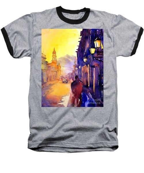 Watercolor Painting Of Street And Church Morelia Mexico Baseball T-Shirt
