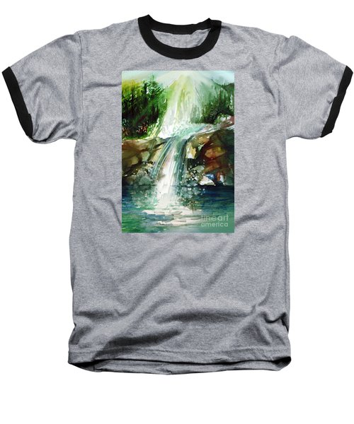 Baseball T-Shirt featuring the painting Waterfall Expression by Allison Ashton