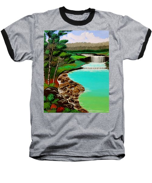 Baseball T-Shirt featuring the painting Waterfalls by Cyril Maza