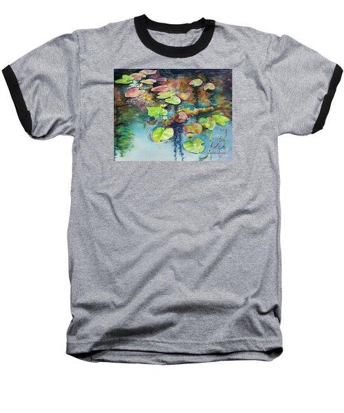 Waterlilies In Shadow Baseball T-Shirt by Kathy Braud