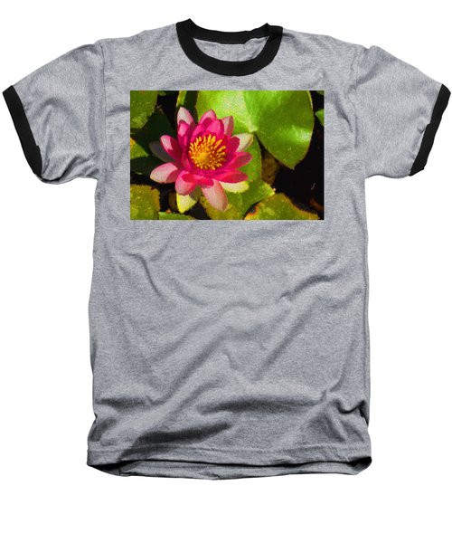 Waterlily Impression In Fuchsia And Pink Baseball T-Shirt