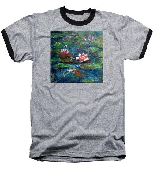 Waterlily In Water Baseball T-Shirt by Jieming Wang