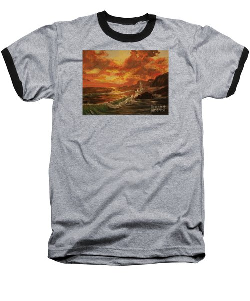 Baseball T-Shirt featuring the painting Wave Crash by Vanessa Palomino