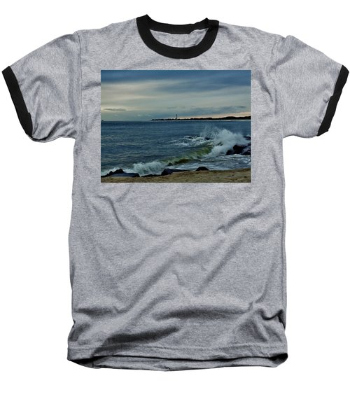 Baseball T-Shirt featuring the photograph Wave Crashing At Cape May Cove by Ed Sweeney