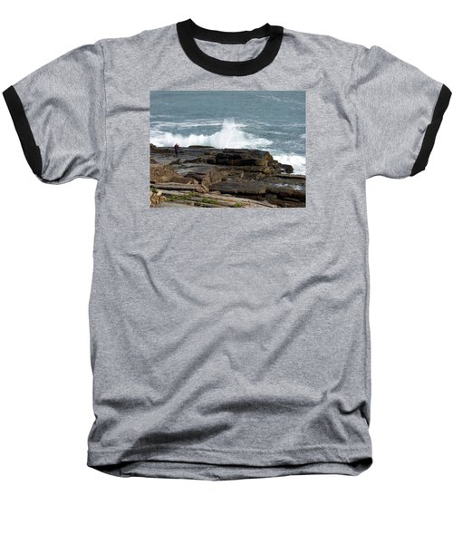 Wave Hitting Rock Baseball T-Shirt by Catherine Gagne