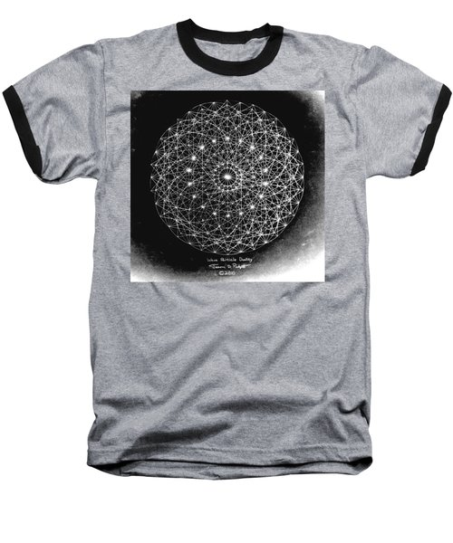 Baseball T-Shirt featuring the drawing Wave Particle Duality Black White by Jason Padgett