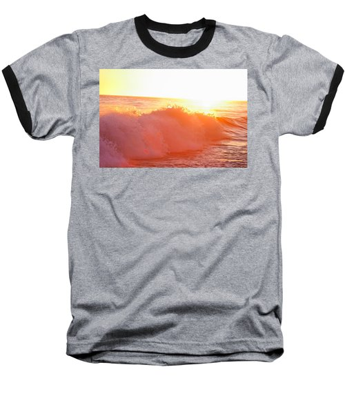 Waves In Sunset Baseball T-Shirt