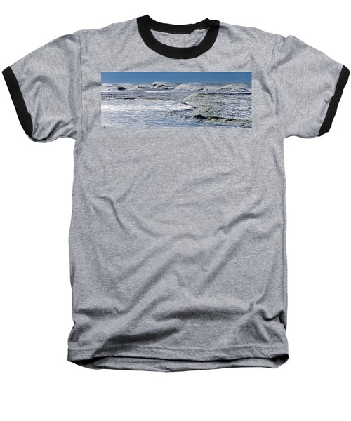 Waves Off Sandfiddler Rd Corolla Nc Baseball T-Shirt by Greg Reed