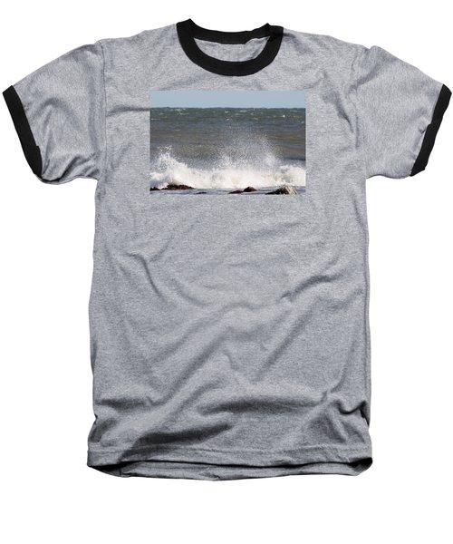 Waves Pounding The Montauk Surf Baseball T-Shirt by John Telfer