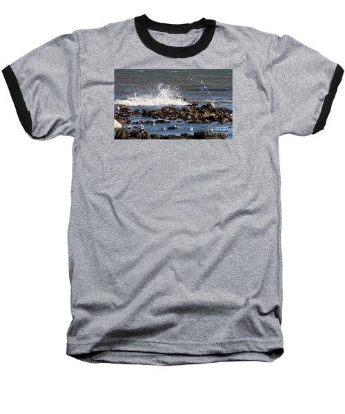 Waves Wind And Whitecaps Baseball T-Shirt by John Telfer