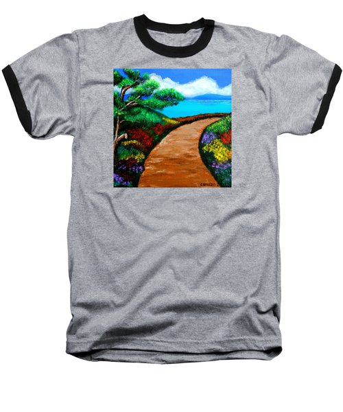Baseball T-Shirt featuring the painting Way To The Sea by Cyril Maza