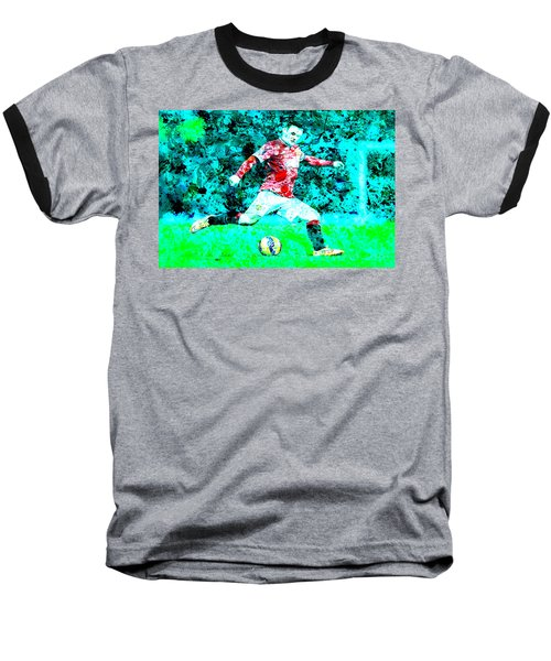 Wayne Rooney Splats Baseball T-Shirt by Brian Reaves