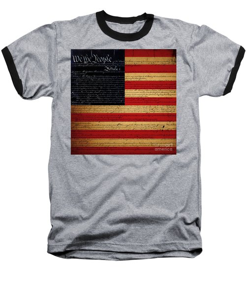 We The People - The Us Constitution With Flag - Square Baseball T-Shirt