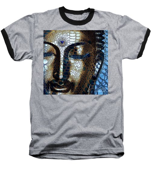 Web Of Dharma - Modern Blue Buddha Art Baseball T-Shirt