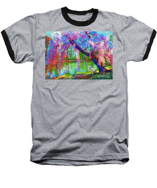 Weeping Beauty, Cherry Blossom Tree And Heron Baseball T-Shirt