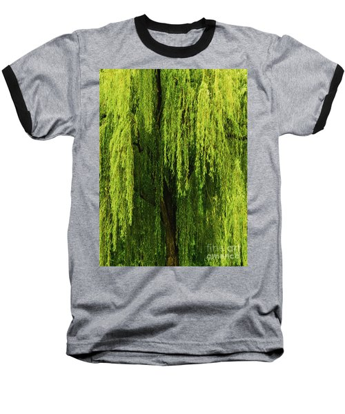 Weeping Willow Tree Enchantment  Baseball T-Shirt by Carol F Austin