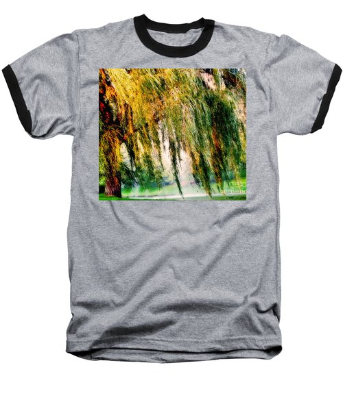 Weeping Willow Tree Painterly Monet Impressionist Dreams Baseball T-Shirt by Carol F Austin