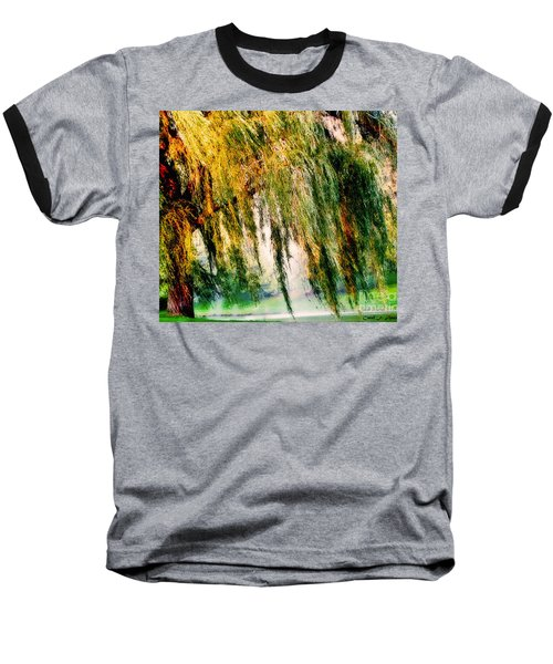 Weeping Willow Tree Painterly Monet Impressionist Dreams Baseball T-Shirt