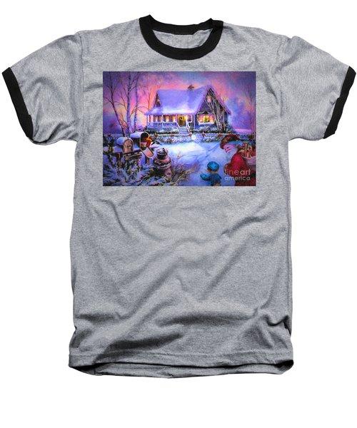 Baseball T-Shirt featuring the digital art Welcome Santa - Retro Vintage Inspired Christmas Scene by Lianne Schneider
