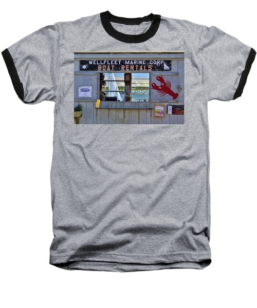 Wellfleet Harbor Thru The Window Baseball T-Shirt by Allen Beatty