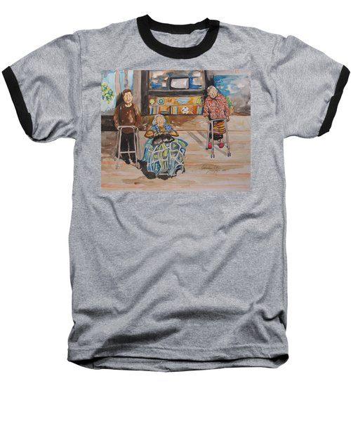 Baseball T-Shirt featuring the painting We're Still Here by Esther Newman-Cohen