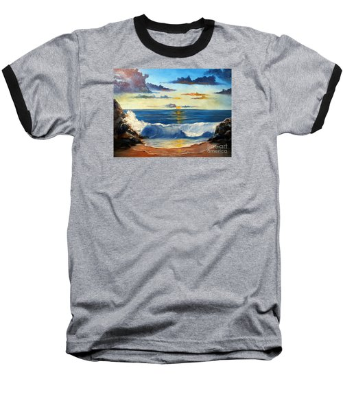 Baseball T-Shirt featuring the painting West Coast Sunset by Lee Piper