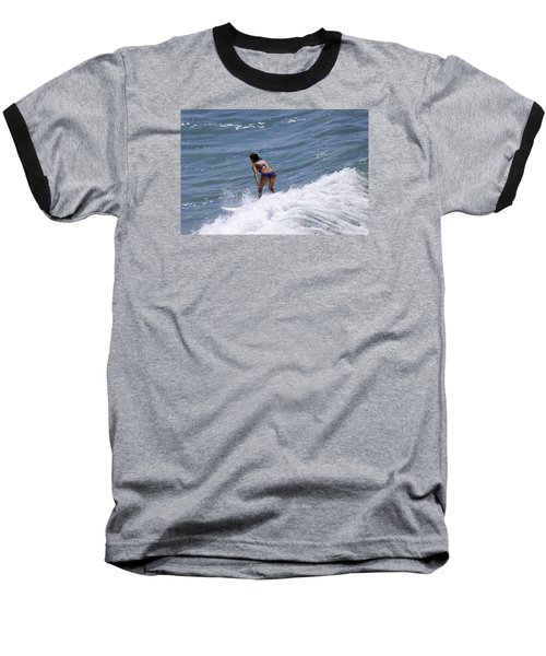 West Coast Surfer Girl Baseball T-Shirt by Duncan Selby