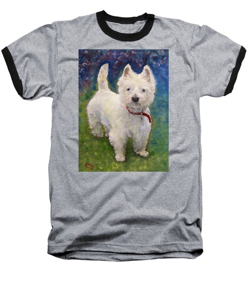 West Highland Terrier Holly Baseball T-Shirt by Richard James Digance