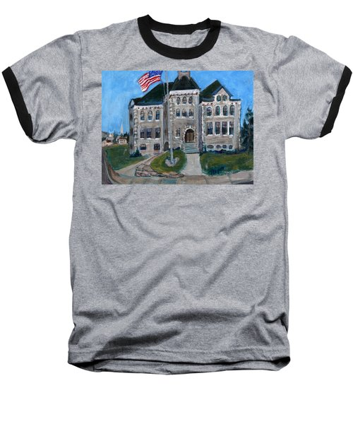 Baseball T-Shirt featuring the painting West Hill School In Canajoharie New York by Betty Pieper
