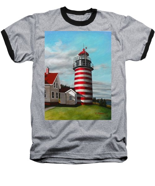 West Quoddy Head Lighthouse Baseball T-Shirt by Eileen Patten Oliver