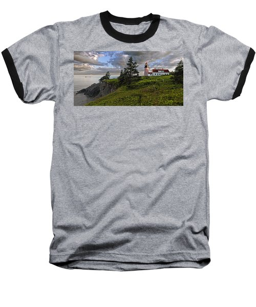 West Quoddy Head Lighthouse Panorama Baseball T-Shirt by Marty Saccone