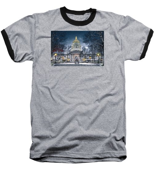 West Virginia State Capitol Baseball T-Shirt by Mary Almond