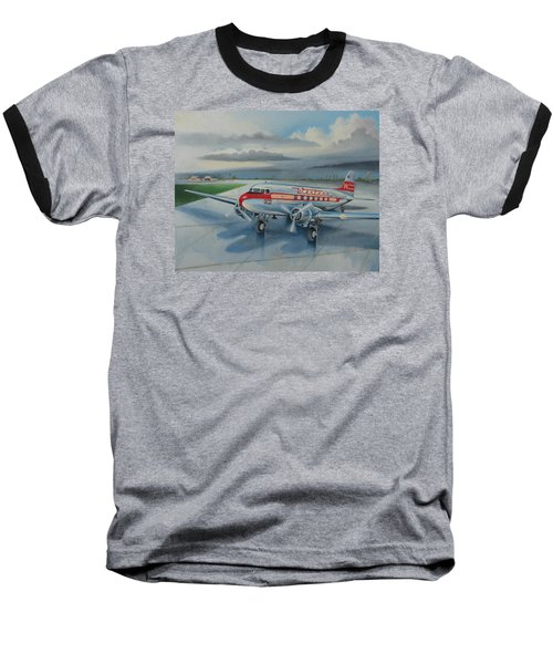Western Airlines Dc-3 Baseball T-Shirt by Stuart Swartz