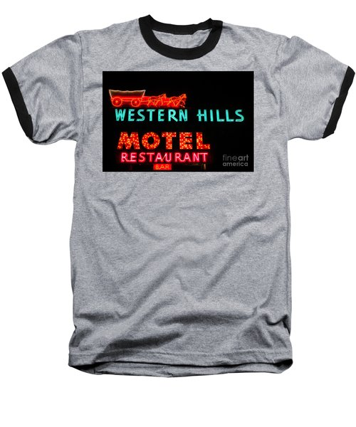 Western Hills Motel Sign Baseball T-Shirt by Sue Smith