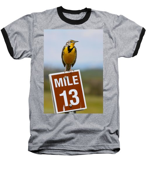 Western Meadowlark On The Mile 13 Sign Baseball T-Shirt by Karon Melillo DeVega