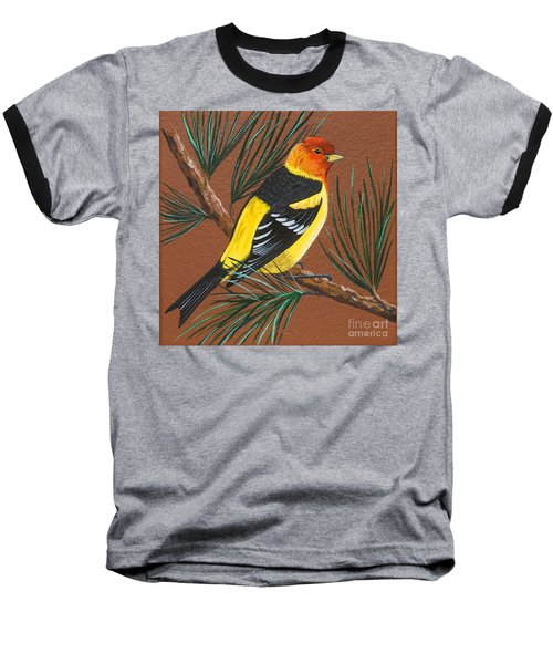 Baseball T-Shirt featuring the painting Western Tanager by Jennifer Lake